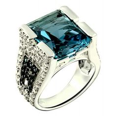 Rings, RB Gems, 14.76 Carats London Blue Topaz with White Topaz Rhodium-Plated 925 Sterling Silver Statement Ring (7)
