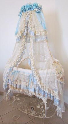 """A bassinet, bassinette, or cradle is a bed specifically for babies from birth to about four months, and small enough to provide a """"cocoon"""" that small babies find comforting. Baby Baby, Baby Love, Baby Bassinet, Baby Cribs, Baby Bedroom, Baby Room Decor, Lace Bedding, Photo Deco, Shabby Chic Baby"""