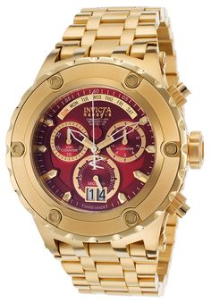 Invicta Men's Subaqua Chrono 18K Gold Plated Stainless Steel Red Dial - Watch 80490, #Invicta, #80490, #WatchesDiverQuartz