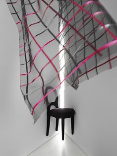 SONATA by Ulf Moritz - Transparent embroidered with thin satin ribbons in a check pattern.