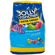 A MASSIVE bag of Jolly Rancher hard candy containing hundreds of bite sized candies in apple blue raspberry cherry watermelon and grape flavours. Vegan Junk Food, Vegan Snacks, Food Food, Lenny And Larry Cookies, Fini Tubes, Smuckers Uncrustables, Chocolates, Vegan Chips, Jolly Rancher Hard Candy