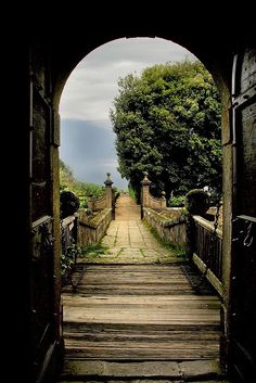 Path leading away from Castello Ruspoli in Vignanello, Viterbo, Italy.