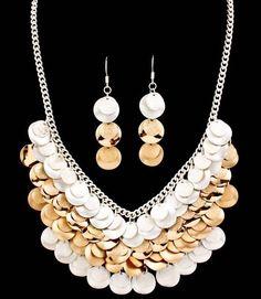 Cascade Discs Bib Necklace Set Silver & Gold Tone Matte & Shinny Finish  #FashionJewelry