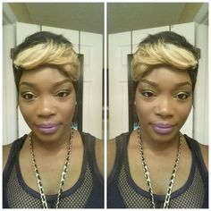27 piece quick weave with blonde bangs