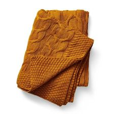 Cable Cotton Mustard Throw - Collect Living