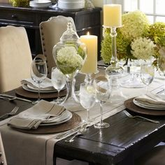 Pottery barn dining room table decor Liked @ www.homescapes-sd.com #staging San Diego home stager (760) 224-5025 #tablescapes