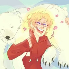 I love this because he is so happy and smiling <<< and he's still carrying his arctic killer friend like he's a feather