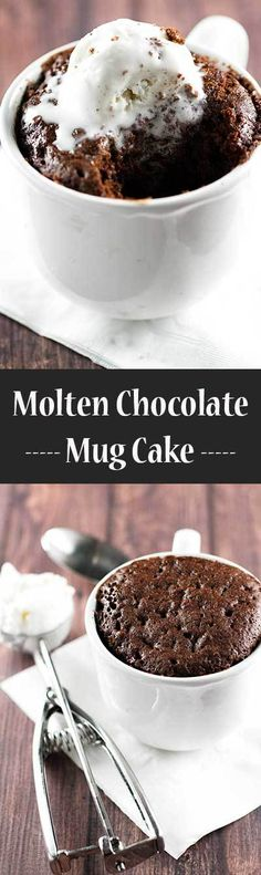 A 5-Minute Molten Chocolate Mug Cake topped with vanilla bean ice cream. PS. It's not for sharing! | girlgonegourmet.com (Mug Cake)