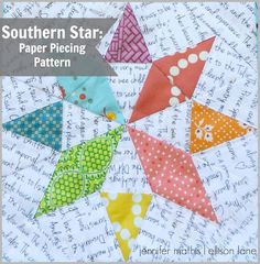Southern Star Paper Piecing Pattern (free!) - Ellison Lane -- template HERE: https://www.dropbox.com/s/12dndj1reuriuzx/rainbow%20southern%20star%20pattern.pdf #paperpieced