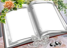 Two Photos Book Shape Photo Frame Photo Frames, Backgrounds. Name Wallpaper, Butterfly Wallpaper, Picture Cards, Picture Frames, Wallpaper Powerpoint, Creative Flower Arrangements, Page Borders Design, Photo Editor Free, Birthday Frames