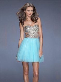 Short/Mini Sweetheart Beadings Sequins Side Cutouts Tulle Prom Dress PD11486