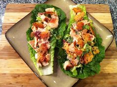 """Chicken Caesar Lettuce Wraps – With Garlic Parmesan """"Croutons"""" - Low Carb"""