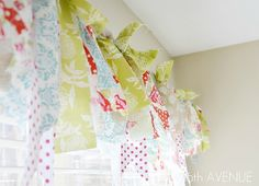 Simple window treatment idea! We all know how to do this technique from making wreaths and lampshades. Adorable as a valance using scraps!