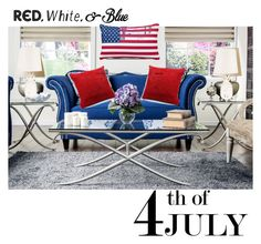 """Red, white & blue"" by hbee-1234 ❤ liked on Polyvore featuring interior, interiors, interior design, home, home decor, interior decorating and Furniture of America"