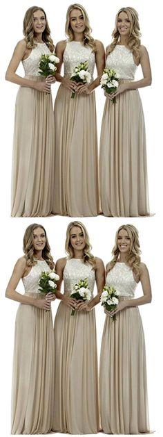 Stunning Champagne A-line High Neck Wedding Guest Dresses,Bridesmaid Dresses,WGY0174#bridesmaid dress#