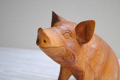 Vintage Wooden Pig Carving by LittleDogVintage on Etsy