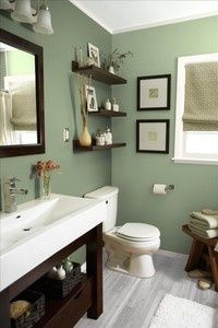 Love this shade of green with the dark wood  white sink/trim