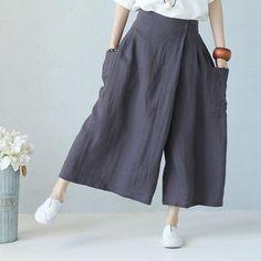 Casual Wide Leg Linen Trousers Women Summer Pants – Linen Dresses For Women Trousers Women Outfit, Pants For Women, Clothes For Women, Wide Leg Linen Pants, Linen Trousers, Coat Outfit, Pantalon Large, Summer Pants, Pants Pattern