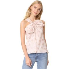 Rebecca Taylor Floral Jacquard Bow Top ($295) ❤ liked on Polyvore featuring tops