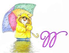 W ~Alfabeto de ratoncito bajo la lluvia. | Oh my Alfabetos!