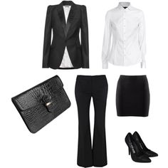 Interview Attire - black and white combos - simple and timeless - add that crimson red watch or bracelet for that subtle pop of color Business Casual Attire, Business Dresses, Business Wear, Business Outfits, Dress Attire, Work Attire, Office Attire, Office Wear, Professional Dress For Women