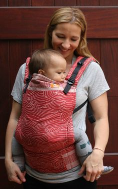 (Standard Size) Half Wrap Conversion Tula Baby Carrier - Oscha Kasumi Peitho (red side out)