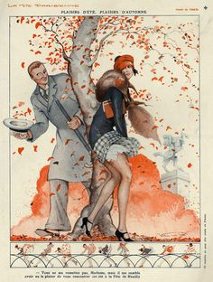 The Advertising Archives picture library - worlds most extensive collection of vintage and modern adverts, The History of Advertising Museum, La Vie Parisienne, magazine illustrations, cover art and posters UK USA Art Deco Illustration, Autumn Illustration, Vintage Illustrations, Vintage Prints, Vintage Posters, Vintage Art, Vintage Romance, Cover Art, Art Nouveau