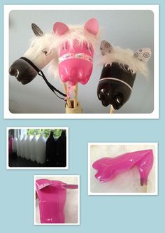 Arts And Crafts With Paper Plastic Bottle Crafts, Recycle Plastic Bottles, Recycled Bottles, Recycled Crafts, Diy And Crafts, Crafts For Kids, Stick Horses, Hobby Horse, Pet Bottle