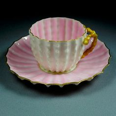 c1887 Antique American Belleek Ott Brewer Pink Cactus Handle Demitasse Egg Shell Cup  Saucer Eggshell