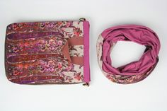 READY TO SHIP set - Tote bag and scarf - magenta pink tan - women bag - screen printed - laptop bag by BagitBag on Etsy