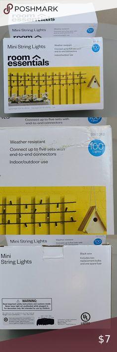 NIB mini string lights, 100 lights, ONE box, black
