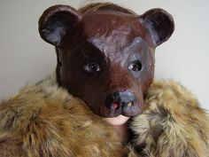 Masquerade mask Bear mask Animal mask Paper mache by EpicFantasy