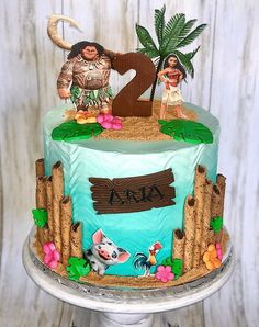 Moana Birthday Cakes, Moana Birthday Party Theme, Toddler Birthday Cakes, Moana Themed Party, 4th Birthday Cakes, Moana Party, Moana Cake Ideas, Moana Theme Cake, Mowana Cake