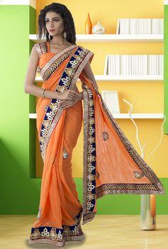 Luscious Light Orange #Saree - Check online @ http://www.yourdesignerwear.com/luscious-light-orange-saree-p-52574.html
