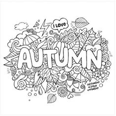 Fall Coloring Sheets, Fall Coloring Pages, Printable Coloring Pages, Adult Coloring Pages, Coloring Pages For Kids, Coloring Books, Free Coloring, Colorful Drawings, Colorful Pictures