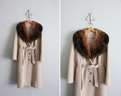 1970s vintage fur collar princess coat from Allen Company Inc