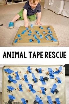 Animal Tape Rescue - A Quick And Easy Toddler Activity Taby Activity Taby Activities Easy Activity For One Year Old Baby Activity Airplane Ride Activity Animal Activity Rainy Day Activity Easy Indoor Activity From Busy Toddler Toddler Activities Daycare, Activities For One Year Olds, Toddler Fun, Infant Activities, Outdoor Toddler Activities, Baby Learning Activities, Easy Toddler Crafts 2 Year Olds, Animal Activities For Kids, Work Activities