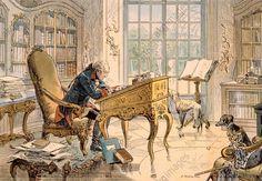 Friedrich der Große in seinem Arbeitszimmer zu Sanssouci