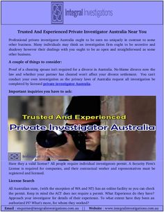 Are you searching for best private investigator in Australia? Integral Investigation have the best team of private investigators with over 20 years experienced investigations. Now, visit or call us now to find private investigator Australia.