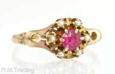 Antique Vintage  14K Yellow Gold .35ct Ruby & Pearl Victorian Ring 2.3g $545