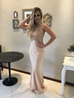 vestido de festa nude