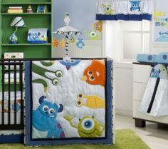 "Monsters Inc. Crib Bedding Set - Kids Line - Babies ""R"" Us - I know it doesn't fit the nursery theme but this blanket is so adorable. Monsters Inc Nursery, Monster Nursery, Monsters Inc Baby, Disney Monsters, Monster Bedroom, Disney Pixar, Disney Babys, Baby Disney, Nursery Themes"