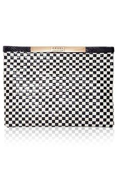 WOVEN SNAKESKIN POUCH IN BLACK AND WHITE