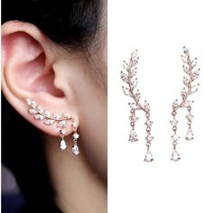 Amazon.com: EVERU CZ Vine Jewelry Sweep Wrap Crystal Rose Gold Leaf... (33 AUD) ❤ liked on Polyvore featuring jewelry, earrings, cz earrings, stud earrings, crystal jewelry, cz stud earrings and crystal ear cuff