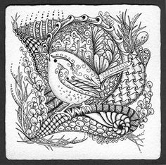 Totally wanting a Zentangle Illustrator for one of my children's stories.  I love this style!!!   Photo Gallery: Zentangles » Zentangle Tiles » Wren Tangle 4