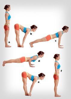 Walk Out Pushup stand, reach down, walk hands to pushup pose. do 1 set up, walk hands back, stand. repeat w/ 2 setups. Do until reach 5 setups. Rest 15 sec. Do again..start with 5 pushups..work way to 1 (backwards)