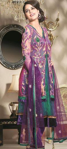 $102.87 Purple Full Sleeve Net Long Anarkali Salwar Kameez 19653
