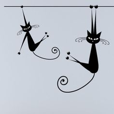 Mačky, hanging black and white retro cats