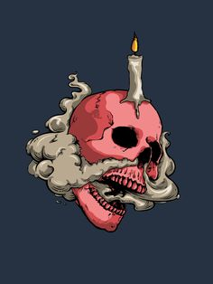 Smokey skull with candle