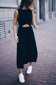 black dress @adidas stan smiths #summerstreetstyle | The August Diaries